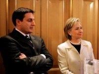 Secretary of State-designate and U.S. Senator Hillary Clinton (D-NY) refuses to take questions while waiting for an elevator with her press secretary Philippe Reines at the U.S. Capitol January 7, 2009 in Washington, DC. Senate Democratic leadership said it will work to find a way for Roland Burris to be …