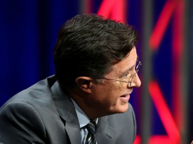 Stephen Colbert speaks onstage during the 'The Late Show with Stephen Colbert' panel discussion at the CBS portion of the 2015 Summer TCA Tour at The Beverly Hilton Hotel on August 10, 2015 in Beverly Hills, California. (Photo by
