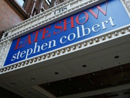 A general view of the 'The Late Show With Stephen Colbert' marquee under construction on August 14, 2015 in New York City.