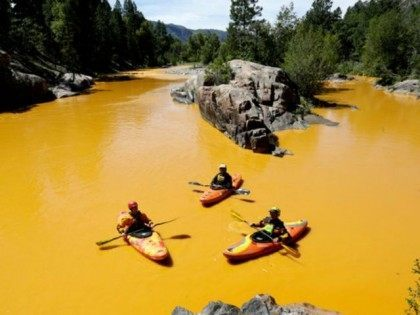 People kayaking in the Animas River near Durango, Colo., last Thursday, in water colored from a mine waste spill. The river is now closed indefinitely, with visitors warned to stay out.