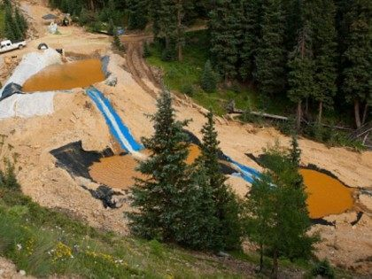 Three settling ponds are used at Cement Creek, which was flooded with millions of gallons of mining wastewater, on August 11, 2015 in Silverton, Colorado. The Environmental Protection Agency uses settling ponds to reduce the acidity of mining wastewater so that it carries fewer heavy metals.