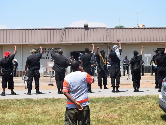 Confrontation in Waller County. Armed Black Panthers stand in front of jail where Sandra Bland killed herself. (Photo: Breitbart Texas/Bob Price)