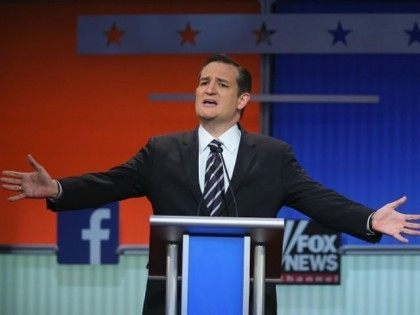 Republican presidential candidate Sen. Ted Cruz (R-TX) fields a question during the first Republican presidential debate hosted by Fox News and Facebook at the Quicken Loans Arena on August 6, 2015 in Cleveland, Ohio. The top ten GOP candidates were selected to participate in the debate based on their rank in an average of the five most recent political polls.