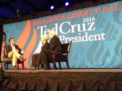 Sen. Ted Cruz speaking in Des Moines Aug. 21, 2015. He discussed the importance of religious liberty. (Photo by Breitbart News reporter Mike Leahy)