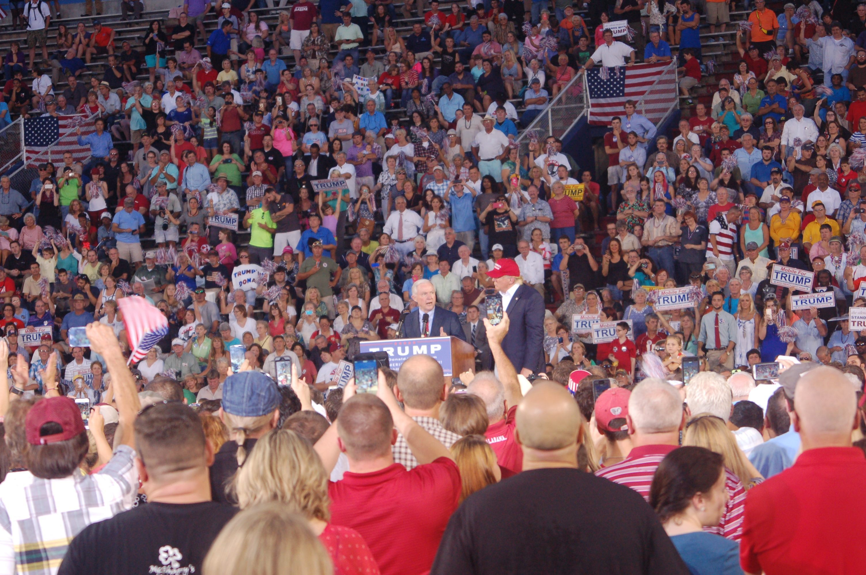 Donald Trump and Jeff Sessions at Mobile Rally, 8/21/15