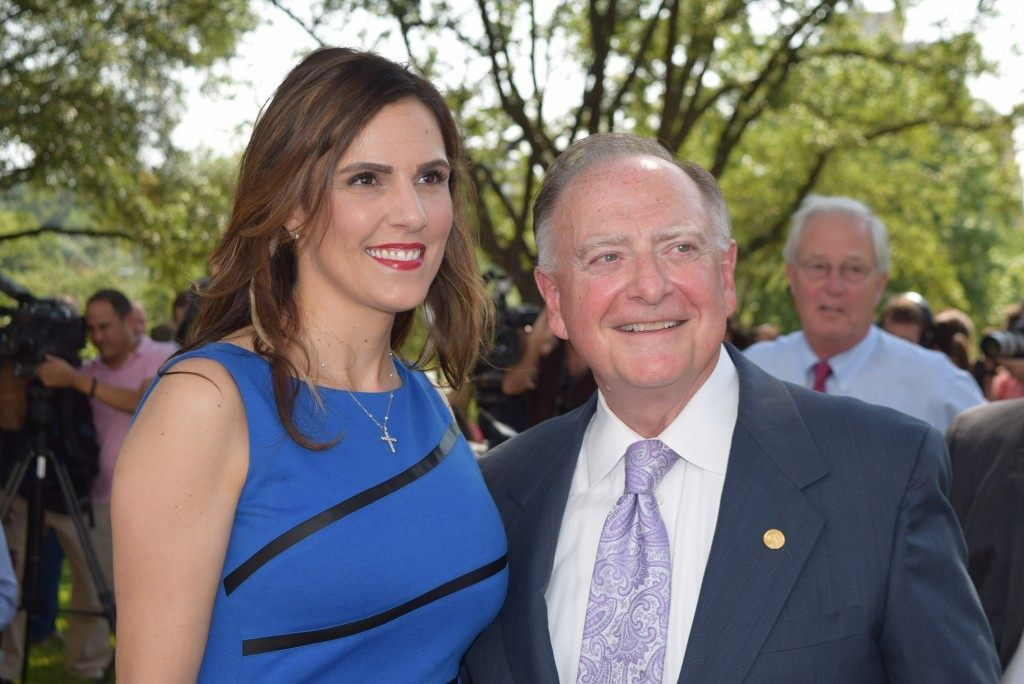 Taya Kyle, widow of Navy Seal Chris Kyle, poses with State Representative Dan Flynn. Rep. Flynn authored HCR 85, authorizing the Texas Legislative Medal of Honor for her late husband. (Photo: Breitbart Texas/Bob Price)