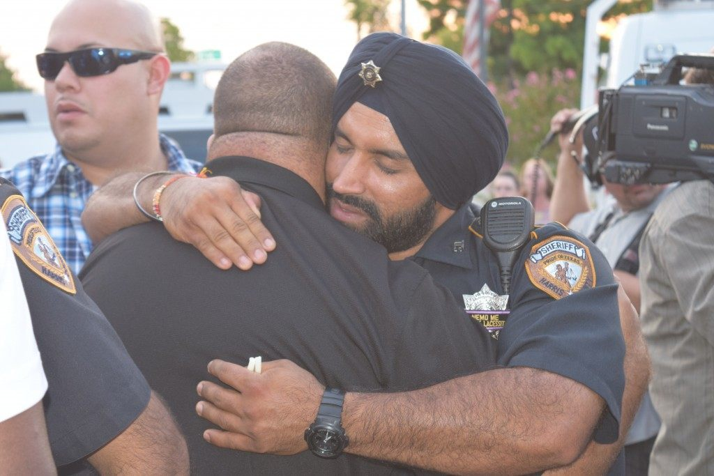 Many officers who hadn't seen each other in a long time were reunited in mourning. (Photo: Breitbart Texas/Lana Shadwick)