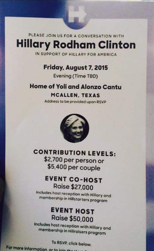 Ticket for Clinton Fund Raising Gala in McAllen. (Photo: Facebook)