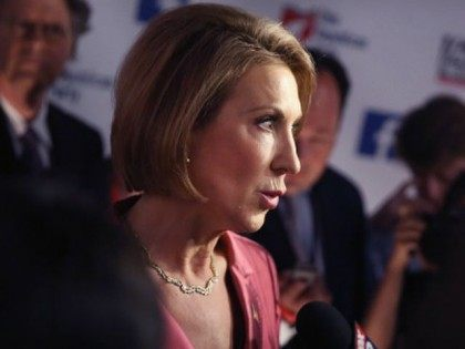 Rebulican presidential candidate Carly Fiorina fields questions from the press following a presidential forum hosted by FOX News and Facebook at the Quicken Loans Arena August 6, 2015 in Cleveland, OH. Seven GOP candidates were selected to participate in the forum based on their rank in an average of the …