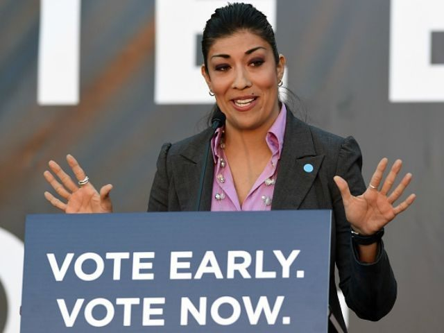 Democratic candidate for lieutenant governor and current Nevada Assemblywoman Lucy Flores (D-Las Vegas) speaks at a get-out-the-vote rally at the Springs Preserve on October 28, 2014 in Las Vegas, Nevada. Former U.S. President Bill Clinton spoke at the event while stumping for Nevada Democrats one week before the November 4th …