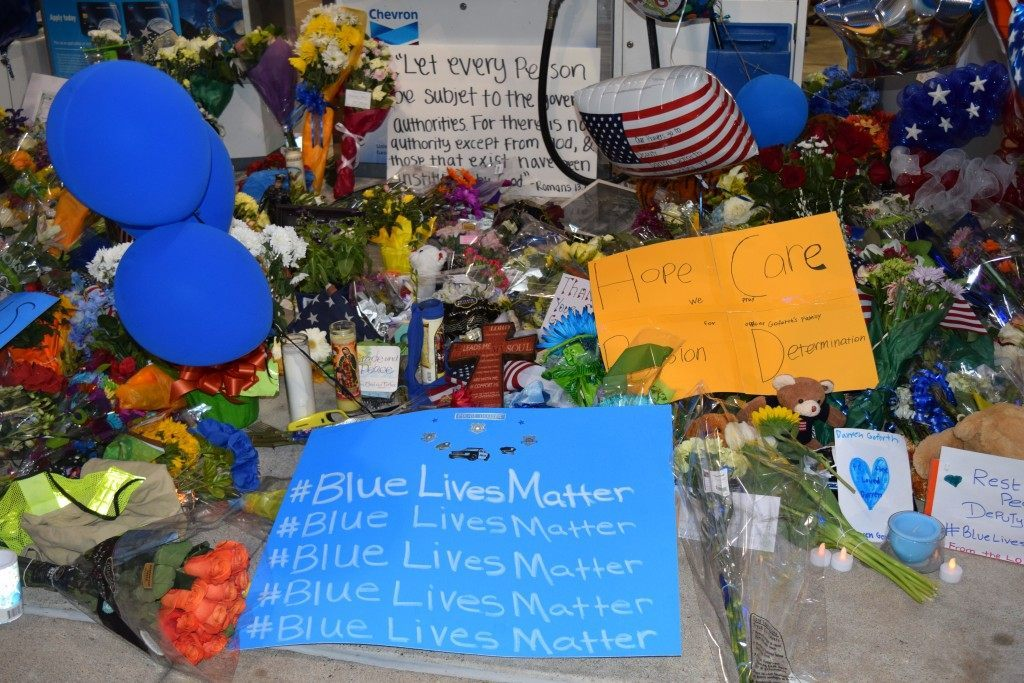 Memorial Tribute to Deputy Darren Goforth at the gaspump where he was assassinated. (Photo: Breitbart Texas/Lana Shadwick)