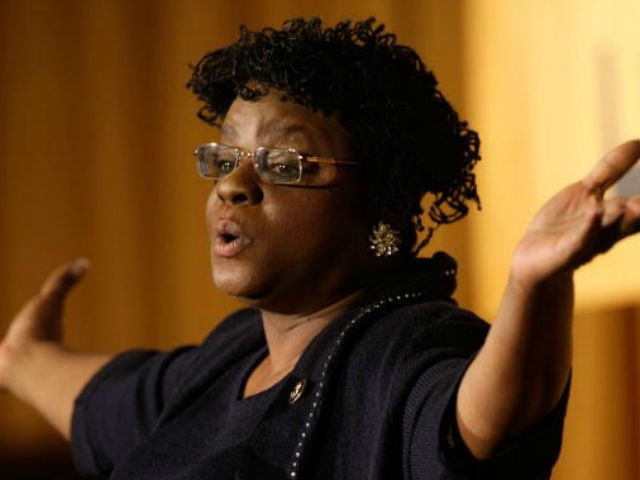 : U.S. Rep. Gwen Moore (D-WI) addresses a luncheon of Emily's List at the Hilton Washington Hotel January 18, 2009 in Washington, DC. Emily's List hosted a gala luncheon to celebrate the inauguration of President-elect Barack Obama. (Photo by