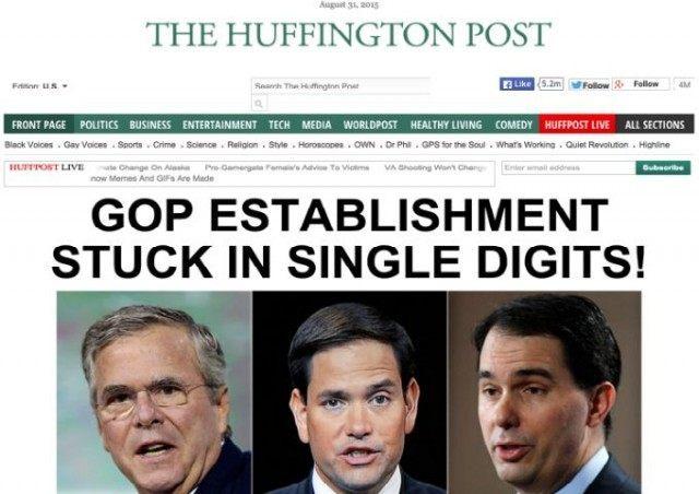 Huffington Post GOP Estab Single Digits