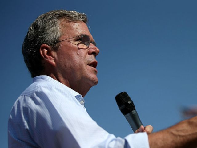 Republican presidential hopeful and former Florida Gov. Jeb Bush speaks to fairgoers during the Iowa State Fair on August 14, 2015 in Des Moines, Iowa. Presidential candidates are addressing attendees at the Iowa State Fair on the Des Moines Register Presidential Soapbox stage. The State Fair runs through August 23. …