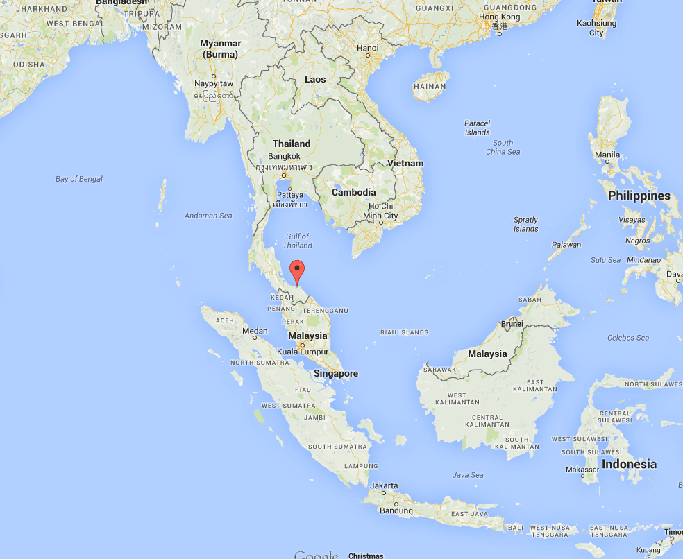 Pattani province, in the South of Thailand (Red Dot)