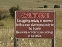 A warning sign near the Arizona-Mexico border.