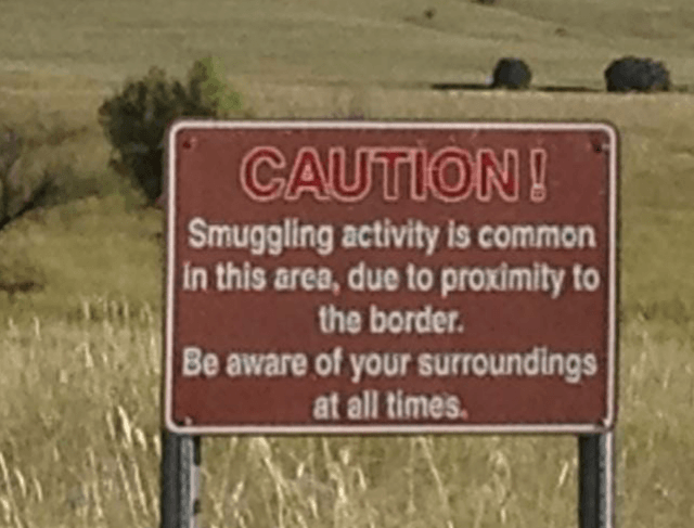 A warning sign near the Arizona-Mexico border.