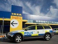 Police cars are parked outside IKEA store in the city of Vaesteraas, about 100 km west of Stockholm on August 10, 2015. Two people were stabbed to death at the Ikea store in Vasteras and a third person was wounded, police said. AFP PHOTO/JONATHAN NACKSTRAND (Photo credit should read JONATHAN …