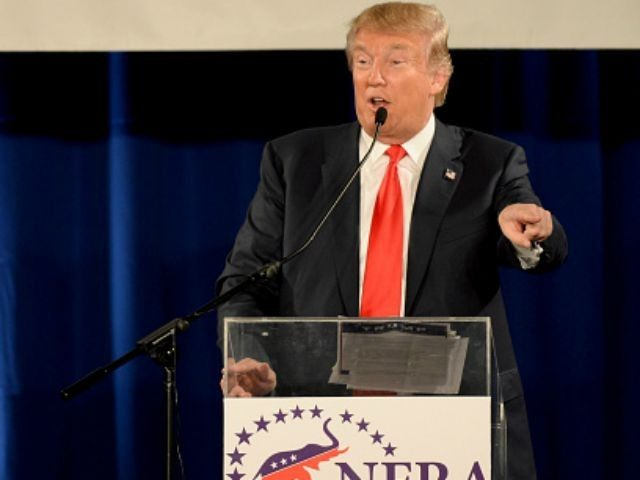 Republican presidential candidate Donald Trump speaks at the National Federation of Republican Assemblies (NFRA) Presidential Preference Convention at Rocketown on August 29, 2015 in Nashville, Tennessee. GOP front runner Donald Trump leads most polls in the race. (Photo by