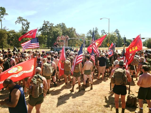 Veterans marching for veterans in Houston's Memorial Park.