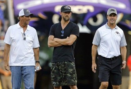 John Harbaugh, Michael Phelps, Steve Bisciotti