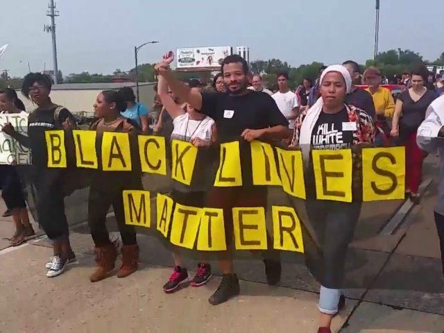 black lives matter activists chant  u0026 39 pigs in a blanket