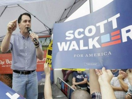 Republican presidential candidate, Wisconsin Gov. Scott Walker, speaks during a visit to the Iowa State Fair on Aug. 17, 2015, in Des Moines, Iowa.