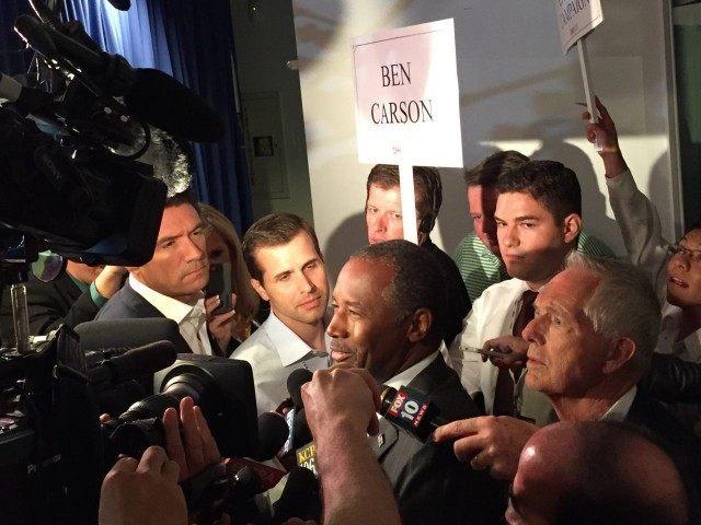 Ben Carson spin room (Joel Pollak / Breitbart News)