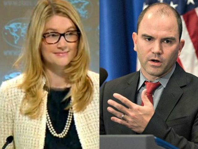 Ben Rhodes AFP (R) and Marie Harf AP