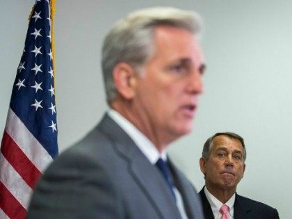 House Majority Leader Kevin McCarthy (R-CA) (L) speaks as Speaker of the House John Boehner (R-OH) looks on during a press conference after a closed meeting with fellow Republicans, on Capitol Hill, July 28, 2015 in Washington, DC. The House plans to move on Wednesday to extend highway and transit programs for three months.