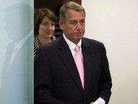 Rep. Cathy McMorris Rodgers (R-WA) (L) and Speaker of the House John Boehner (R-OH) arrive for a press conference after a closed meeting with fellow Republicans, on Capitol Hill, July 28, 2015 in Washington, DC. The House plans to move on Wednesday to extend highway and transit programs for three …