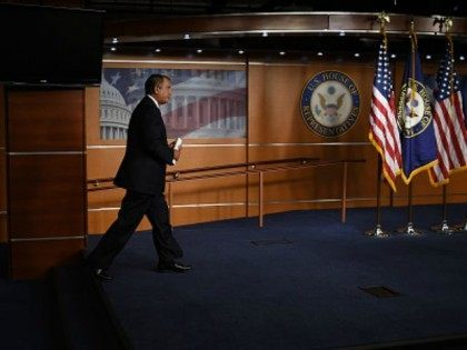 House Speaker John Boehner arrives for his weekly news conference on Capitol Hill on July 29, 2015 in Washington, DC.