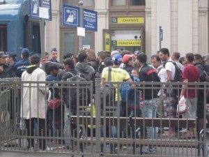Budapest station crowded with refugees and strong police presence