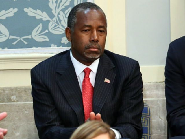 Republican presidential candidate Ben Carson listens as Pope Francis addresses a joint meeting of the U.S. Congress in the House Chamber of the U.S. Capitol on September 24, 2015 in Washington, DC. Pope Francis is the first pope to address a joint meeting of Congress and will finish his tour …