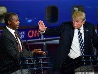 Republican presidential hopefuls Ben Carson and Donald Trump participate in the Republican Presidential Debate at the Ronald Reagan Presidential Library in Simi Valley, California on September 16, 2015. Republican presidential frontrunner Donald Trump stepped into a campaign hornet's nest as his rivals collectively turned their sights on the billionaire in …