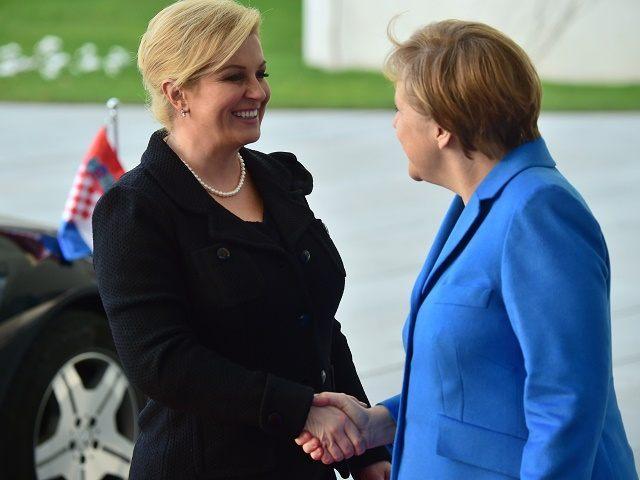 Croatia President With Merkel
