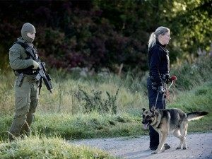 A policeman and a police woman take part in a search for a man who stabbed a policeman at the country's largest reception centre for asylum seekers near Birkerod, Denmark, on September 29, 2015