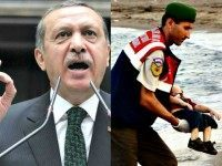 Erdogan AP (L) and Dead Syrian Refugee Child Reuters