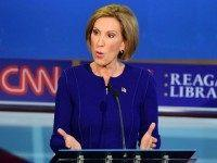 Carly Fiorina speak during the Republican presidential debate at the Ronald Reagan Presidential Library in Simi Valley, California on September 16, 2015. Republican presidential frontrunner Donald Trump stepped into a campaign hornet's nest as his rivals collectively turned their sights on the billionaire in the party's second debate of the …