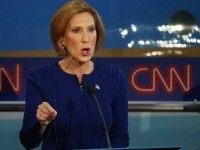 Republican presidential candidate Carly Fiorina takes part in the presidential debates at the Reagan Library on September 16, 2015 in Simi Valley, California. Fifteen Republican presidential candidates are participating in the second set of Republican presidential debates. (Photo by)