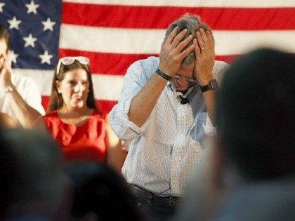 epublican presidential candidate and former Florida Governor Jeb Bush holds his head after making a comment about fellow Republican primary candidate Donald Trump not wanting him to speak Spanish as he speaks during a Miami field office opening on September 12, 2015 in Miami, Floria. Bush continues to campaign for …