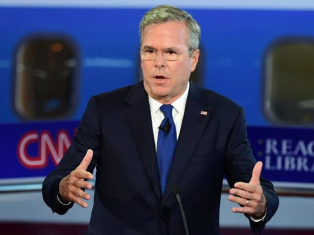 Republican presidential hopeful Jeb Bush speaks during the Republican Presidential Debate at the Ronald Reagan Presidential Library in Simi Valley, California, September 16, 2015. Republican presidential candidates collectively turned their sights on frontrunner Donald Trump at the party's second debate, taking aim at his lack of political experience and his …
