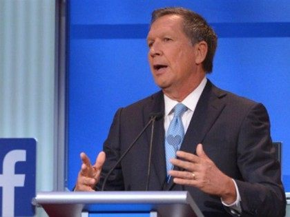Ohio Governor John Kasich speaks during the Republican presidential primary debate on August 6, 2015 at the Quicken Loans Arena in Cleveland, Ohio. AFP PHOTO / MANDEL NGAN (Photo credit should read