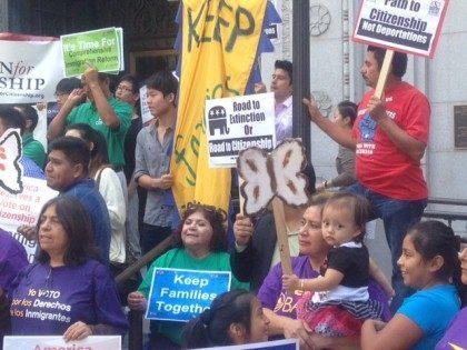 Immigration rally Los Angeles (Joel Pollak / Breitbart News)