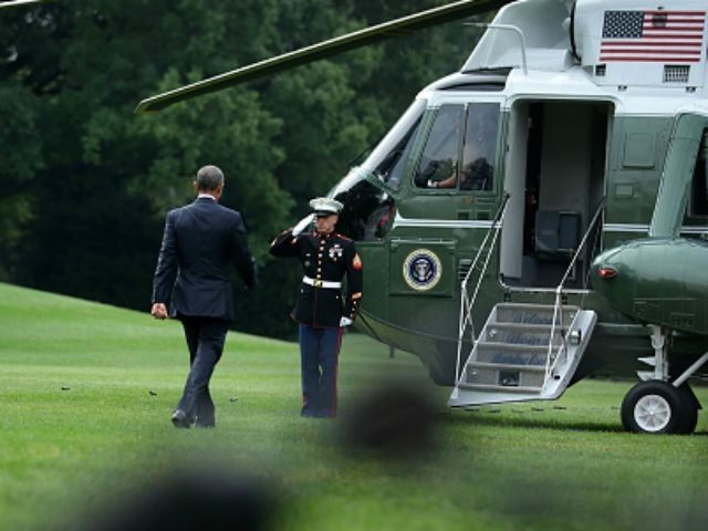 U.S. President Barack Obama walks towards the Marine One prior to his departure from the White House August 31, 2015 in Washington, DC. President Obama is travelling to Anchorage, Alaska to address the Global Leadership in the Arctic: Cooperation, Innovation, Engagement and Resilience (GLACIER) Conference. (Photo by