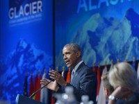 Barack Obama speaks at the Global Leadership in the Arctic: Cooperation, Innovation, Engagement and Resilience (GLACIER) Conference in the Denaina Civic and Convention Center on August 31, 2015 in Anchorage, Alaska. US President Barack Obama warned that climate change is no longer a problem of the future, but rather a …