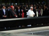 Pope Francis pauses during a visit to Ground Zero on September 25, 2015 in New York City. Francis visited Ground Zero following his address at the United Nations. The interfaith prayer service will include Muslims, Jews, Christians, Sikhs and Hindus. The Pope will also meet with family members of victims …