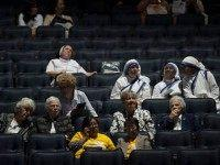 Early attendees are seated and await the arrival of Pope Francis for mass at Madison Square Garden on September 25, 2015 in New York City. The Pope ends his New York visit after a day of activities with the mass at Madison Square Garden and leaves for Philadelphia in the morning. (Photo by