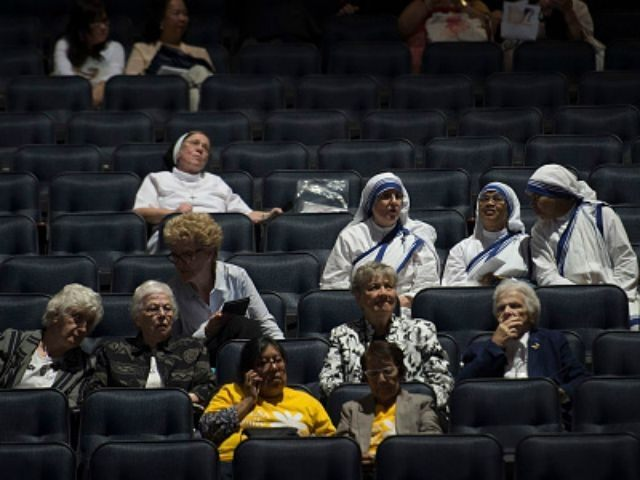 Early attendees are seated and await the arrival of Pope Francis for mass at Madison Square Garden on September 25, 2015 in New York City. The Pope ends his New York visit after a day of activities with the mass at Madison Square Garden and leaves for Philadelphia in the …