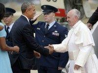 Pope Francis (R) is greeted by U.S. President Barack Obama, first lady Michelle Obama and other political and Catholic church leaders after arriving from Cuba September 22, 2015 at Joint Base Andrews, Maryland. Francis will be visiting Washington, New York City and Philadelphia during his first trip to the United …